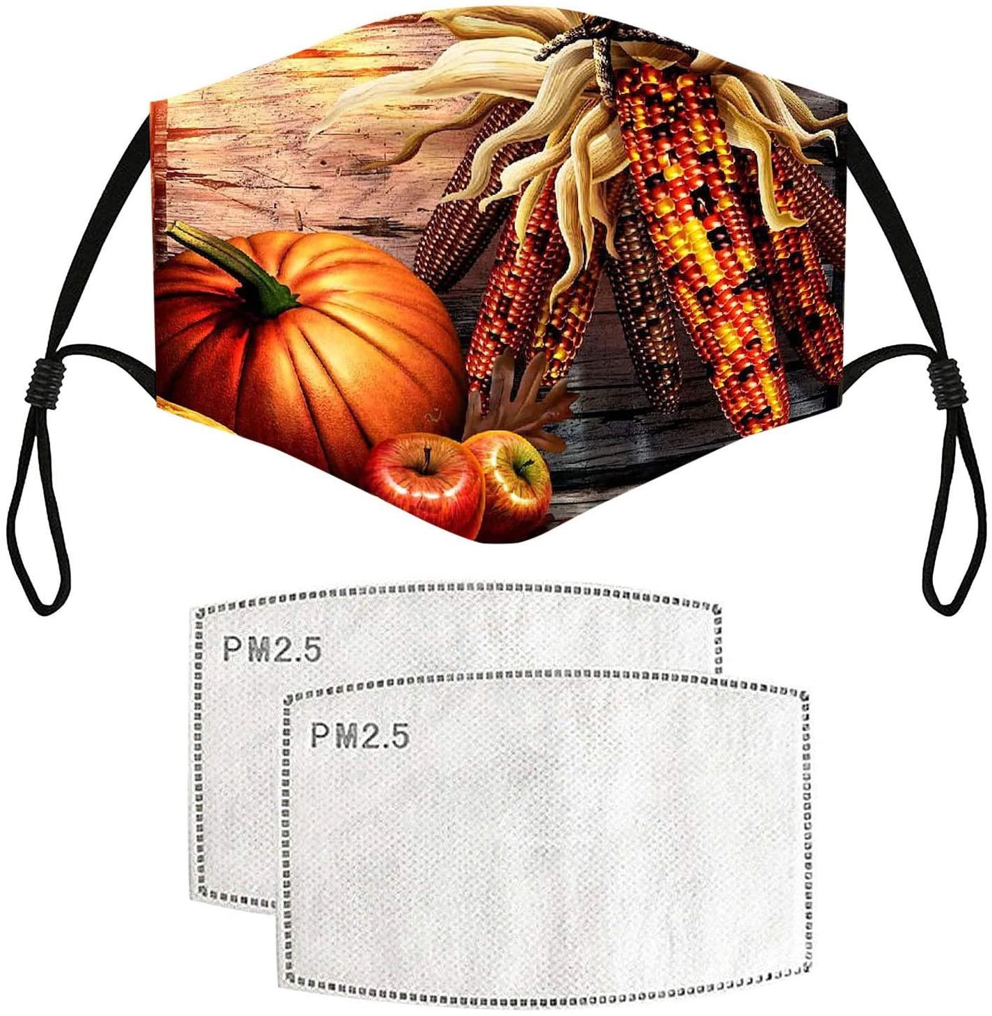 HheJIshirc 1/5PC Thanksgiving Day Masks,Washable and Rusable Print Vegetables and Fruits Masks, Adjustable Earloop Breathable Face Bandanas
