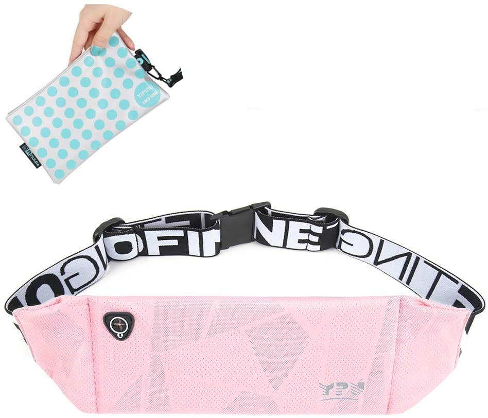 YIPINU Sport Running Belt for Men Women, One of The Slimest and Lightest Waist Bag, Premium Polyester Waterproof Fanny Pack for Running, Workouts, Cycling, Travelling Money Belt & More