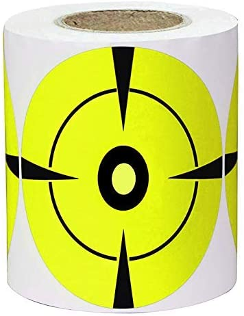 Besttile Target Stickers Shooting Bullseye Sticker,3 Inch Self Adhesive Target Pasters for BB Pellet Pistols Airsoft Guns,Fluorescent Yellow 250 Pcs/Roll