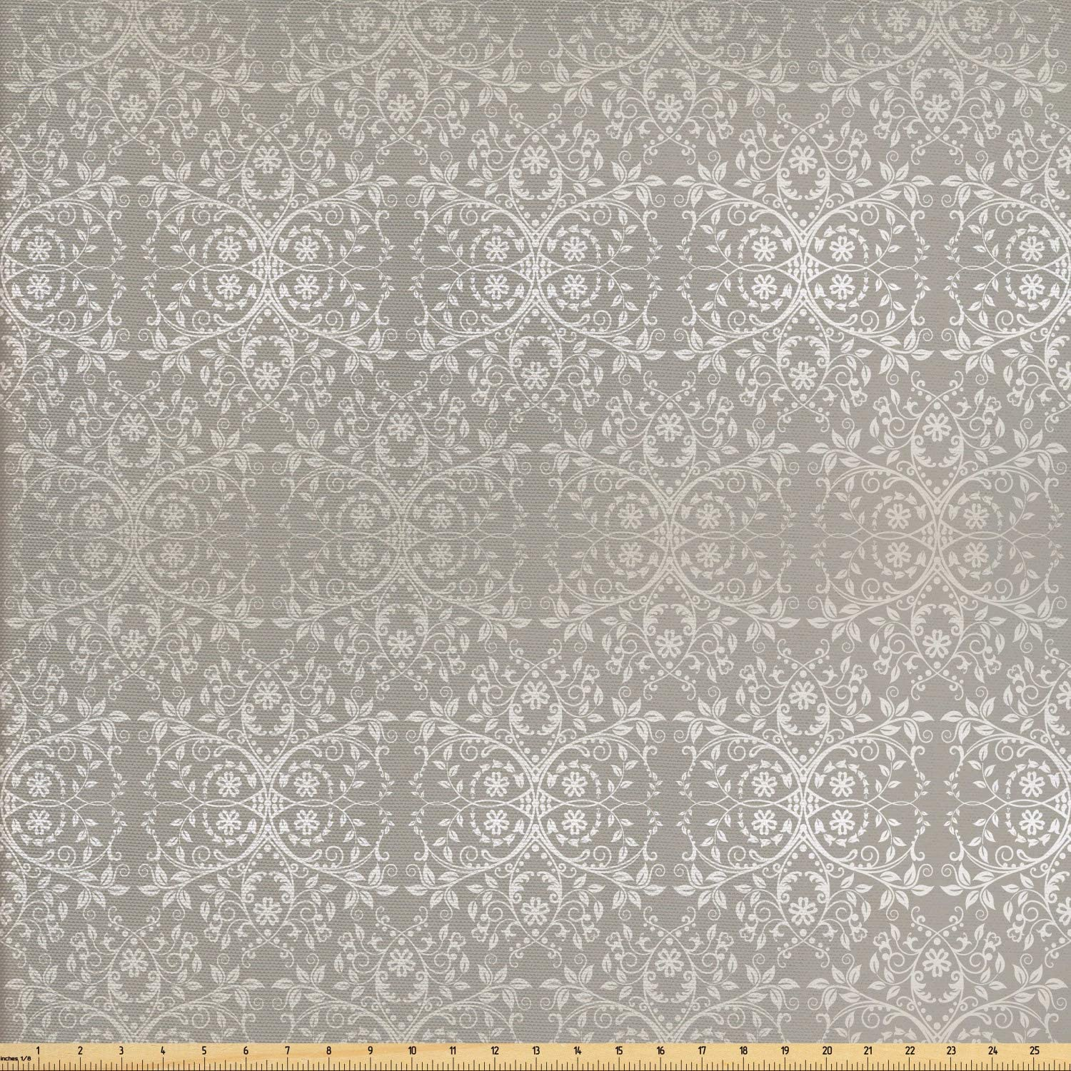 Ambesonne Grey Fabric by The Yard, Victorian Lace Flowers and Leaves Retro Background Old Fashioned Graphic, Decorative Fabric for Upholstery and Home Accents, 1 Yard, Warm Taupe
