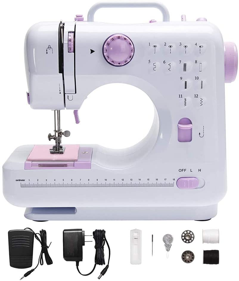 Sewing Machine for Beginner,Portable Multifunction Desktop Electric Household Sewing Machine with 12 Built-in Stitches