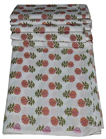 Indian Hand Block Floral Print Cotton Fabric Dressmaking Materials Running Fabric by The by Yard (White 1, 10 Yard)