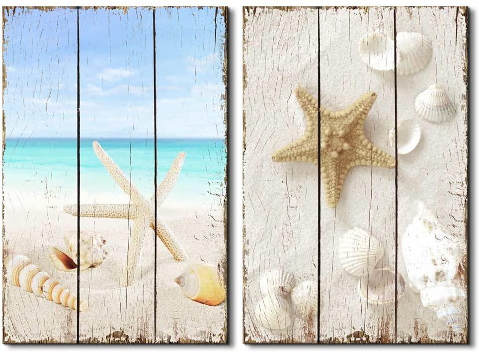 wall26 -Beach Scene with Sea Life on The Sand - Canvas Art Wall Art - 16x24