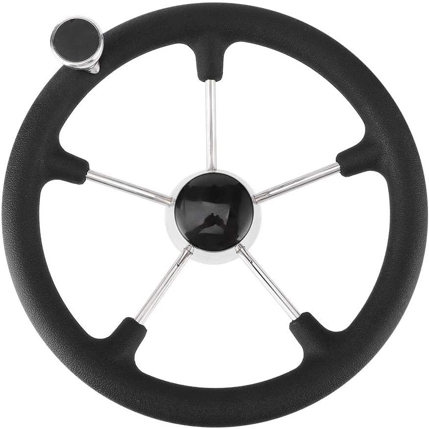 Acouto Boat Stainless Steel Steering Wheel,13-1/2in 5 Spoke Steering Wheel with Black Foam Grip Knob Marine Boat Accessories