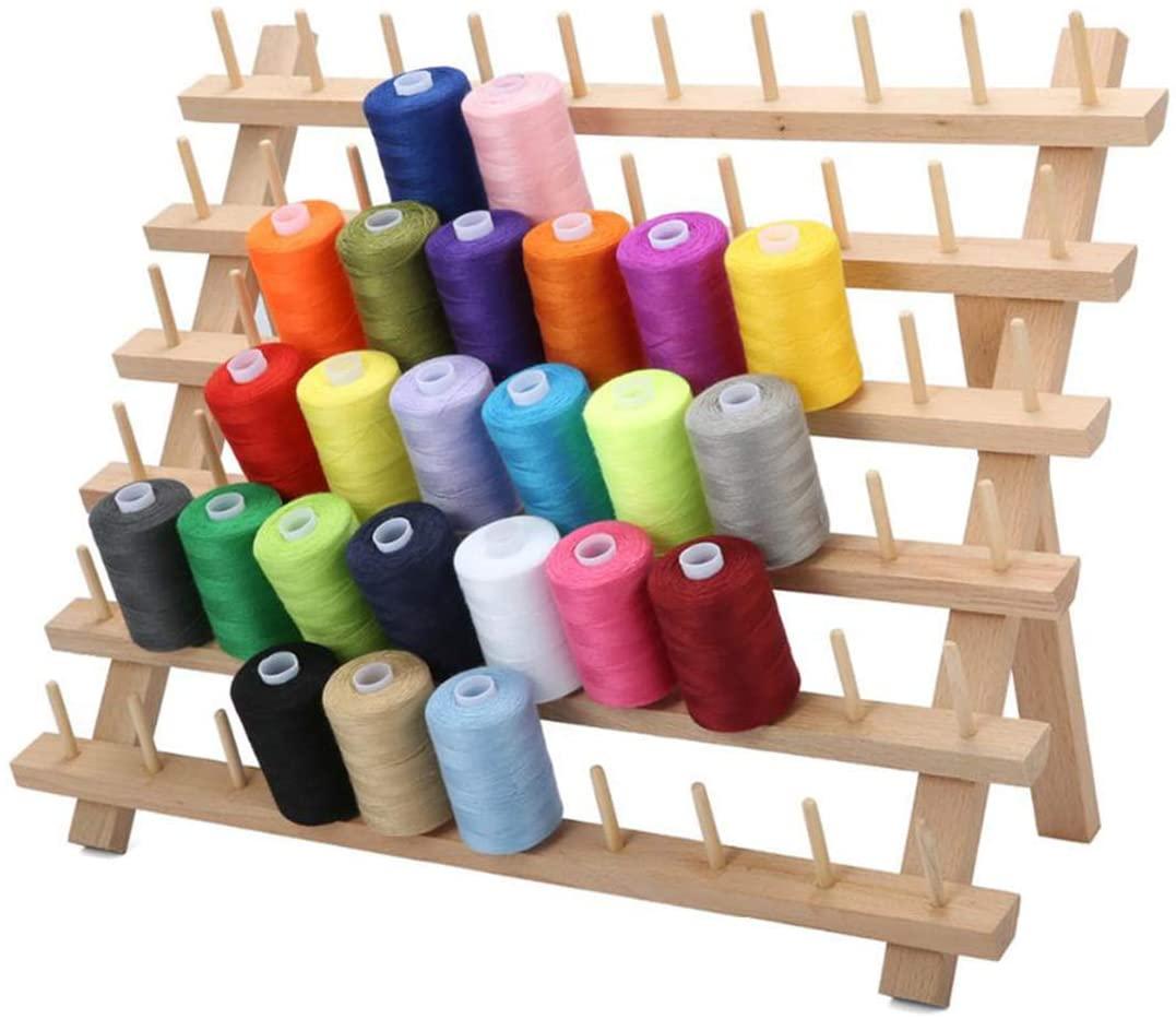 SH-RuiDu 60 Spool Foldable Wooden Thread Spool Holder Yarn Strorage Racks for DIY Arts Crafts Sewing Quilting Hair-braiding