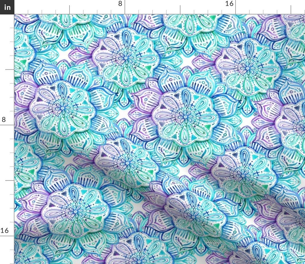 Spoonflower Fabric - Aqua Purple Watercolor Mandala Flowers Blue White Tie Dye 1960s Style Printed on Minky Fabric by The Yard - Sewing Baby Blankets Quilt Backing Plush Toys