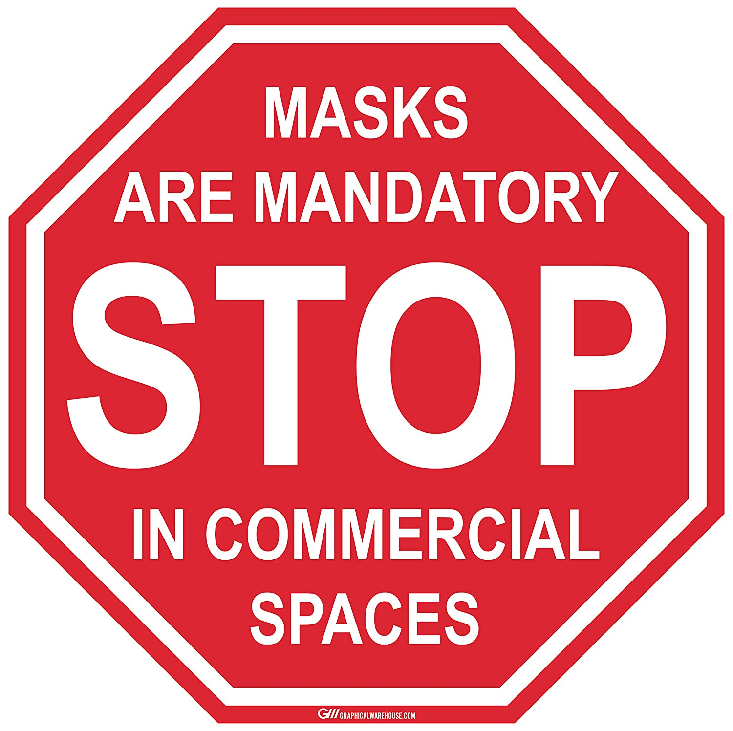 Stop Sign,Face Protection Mandatory in Commercial Spaces Adhesive Durable Vinyl Decal- (Various Sizes Available) Sign by Graphical Warehouse- Safety and Security Signage (14x14)
