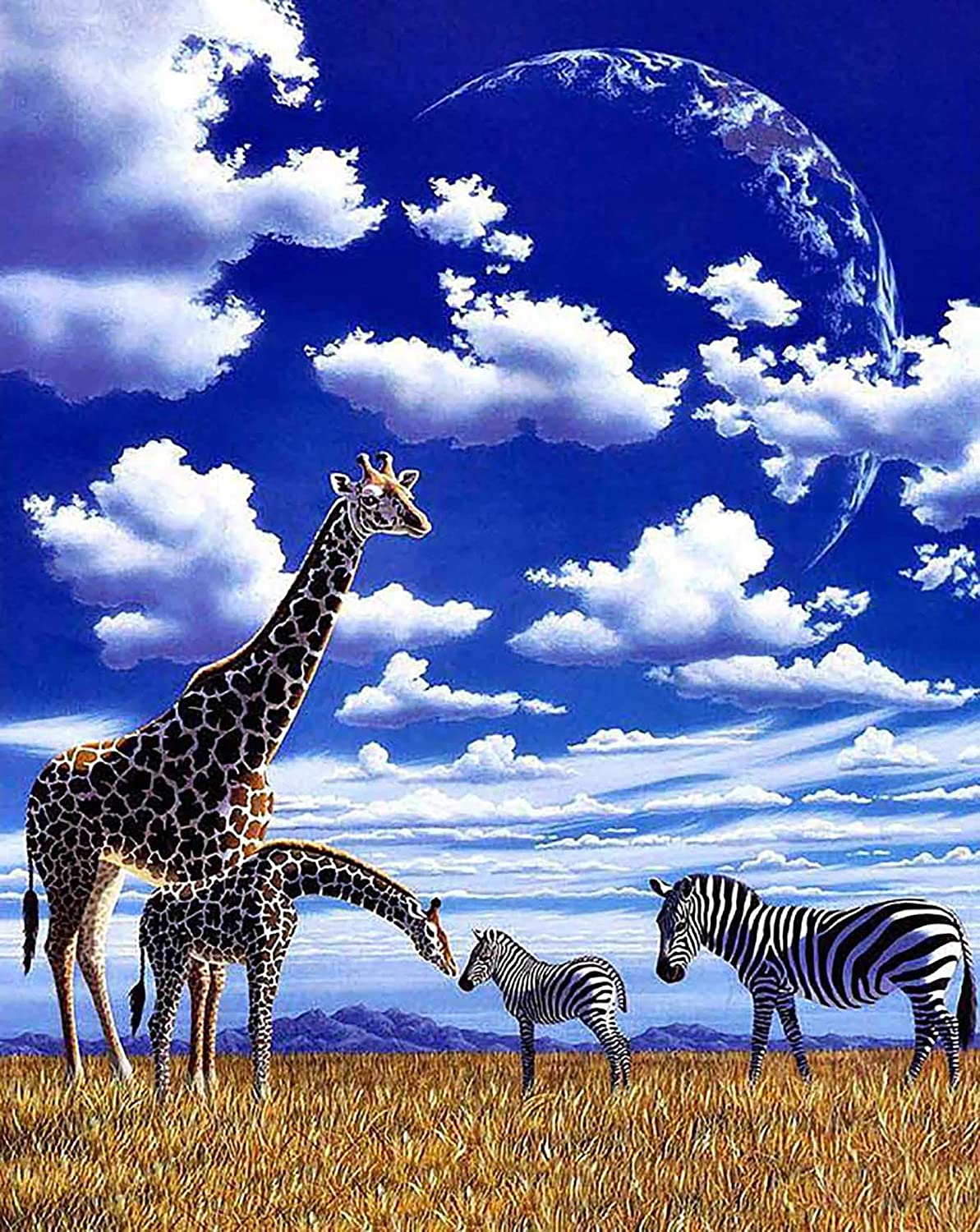 Cuneai DIY 5D Diamond Painting Animal Plants by Number Kit, Round Diamond Art Giraffe Zebra Crystal Embroidery Cross Stitch Tool, for Home Wall Decoration Gifts and Handicrafts 30x40cm / 12x16inch