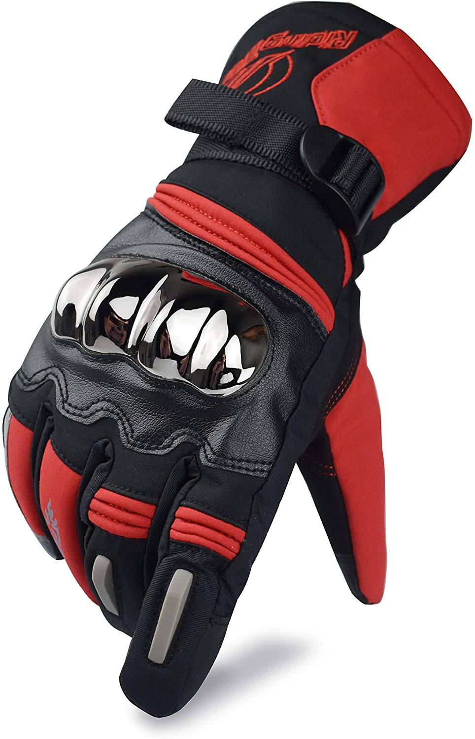 CHCYCLE Touchscreen Motorcycle Gloves Winter Waterproof Full Finger Riding Gloves for Men (Red, X-Large)