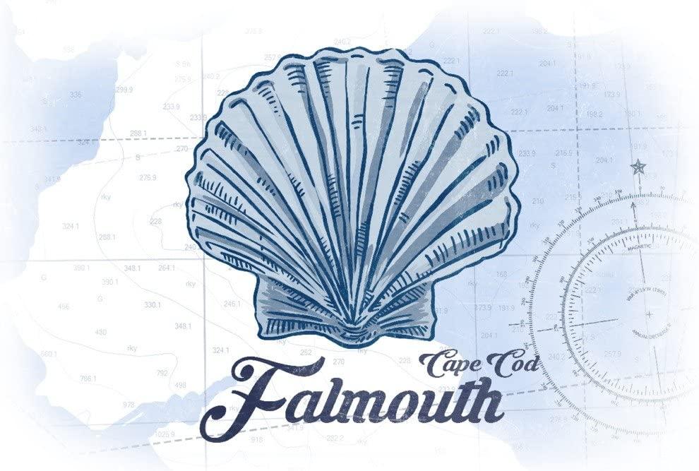 Falmouth, Cape Cod, Massachusetts - Scallop Shell - Blue - Coastal Icon (12x18 Art Print, Wall Decor Travel Poster)
