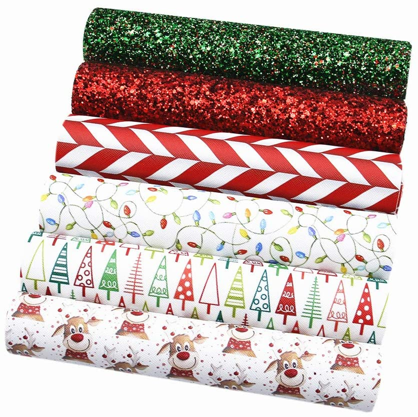 David Angie Merry Christmas Faux Leather Sheet Assorted Synthetic Leather Fabric 6 Pcs 7.9