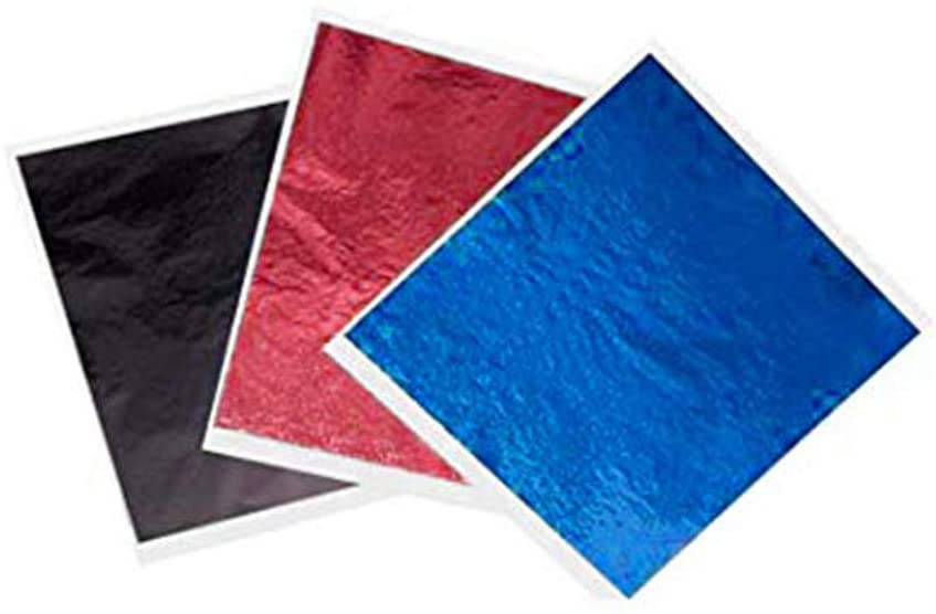"""My Berg 300 Sheets Imitation Gold Black Red Blue Leaf Schabin 3.15"""" by 3.35"""" Metallic Foil for Gilding Painting Arts Crafts Nails and DIYS"""
