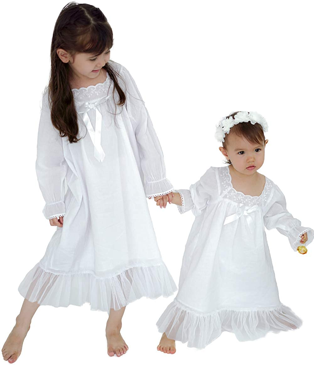 White Nightgown for Girls, Princess Vintage Long Sleeve Pajamas for Toddler Kids 3-14 Years