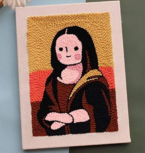 Punch Needle Embroidery Starter Kits Punch Needle Tool Threader Fabric Embroidery Hoop Yarn Rug Punch Needle (Mona Lisa)