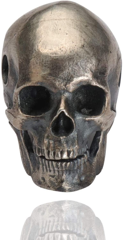 Glintbay Generation 2 Handmade Sterling Silver Skull Bead Biker Rocker Punk Pendant (Matte-M)