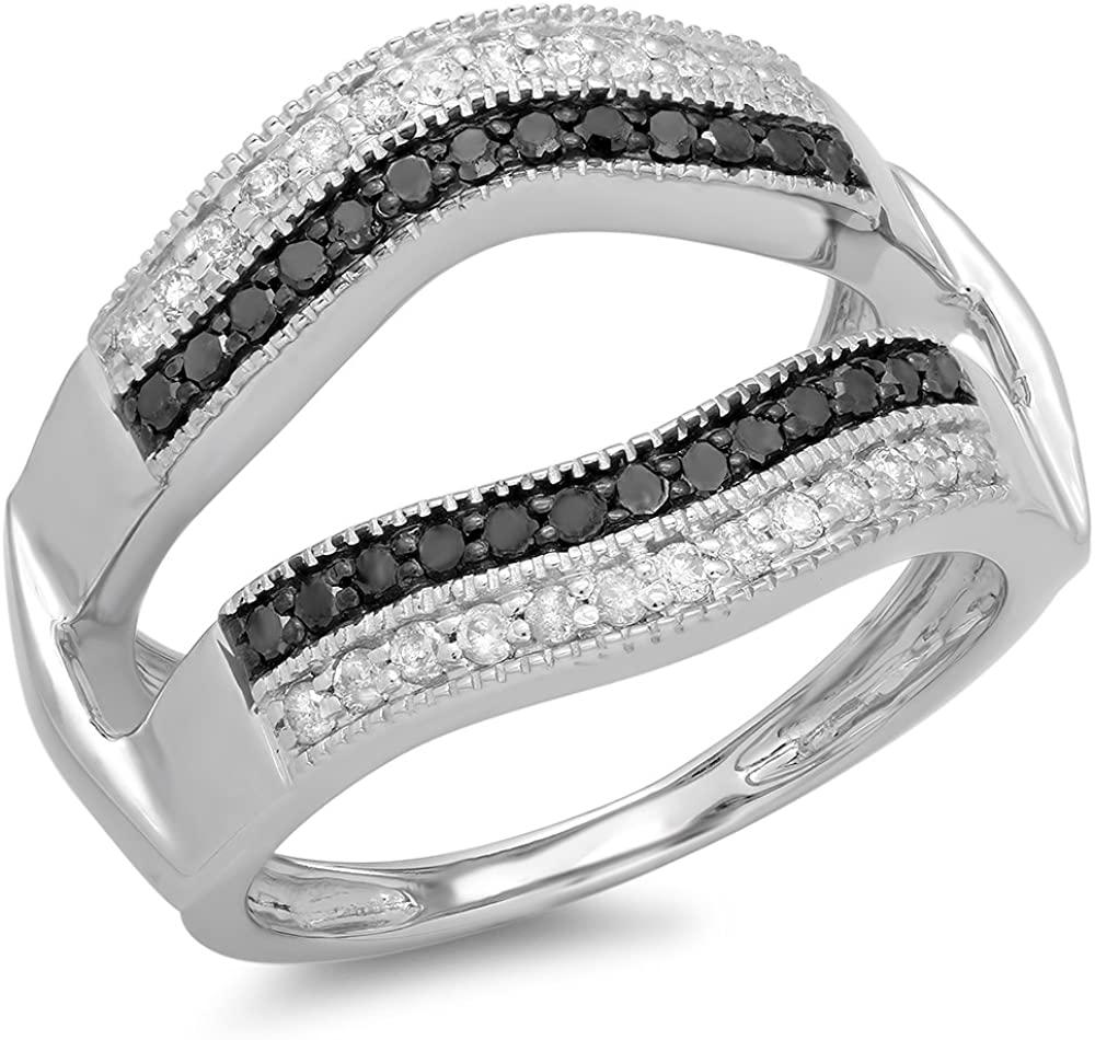 0.55 Carat (ctw) 14K Gold Black & White Diamond Double Row Wedding Band Millgrain Double Ring 1/2 CT