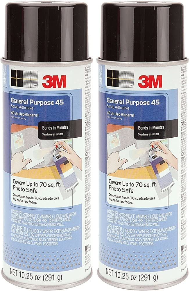 3M General emaMH Purpose 45 Spray Adhesive, 10 1/4-Ounce (2 Pack)