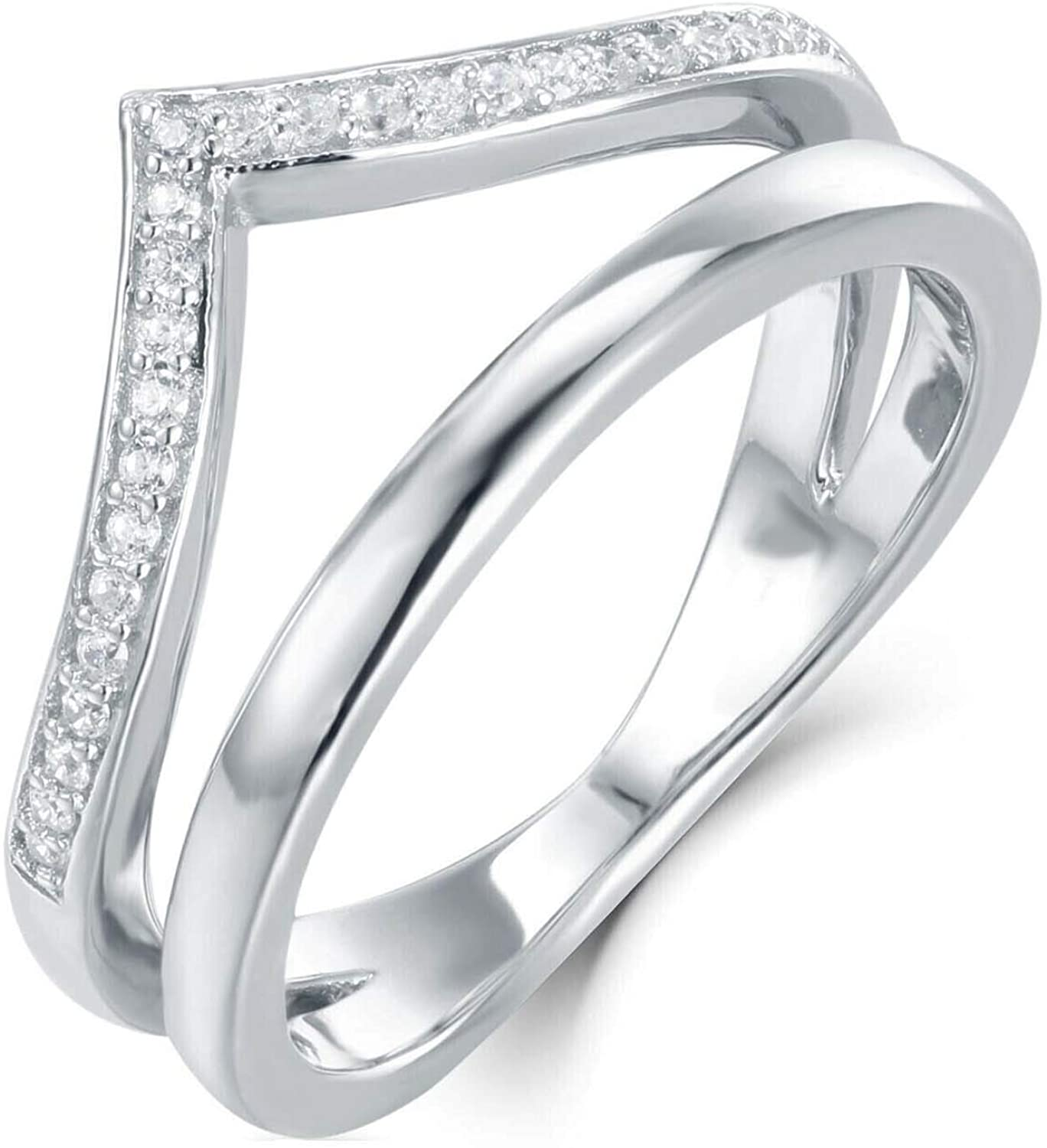 IRA 14k White Gold Plated .925 Silver D/VVS1 Diamond Ring Guard Wedding Band Unique Wrap Half Eternity Band Enhancer Ring 0.30 Ctw