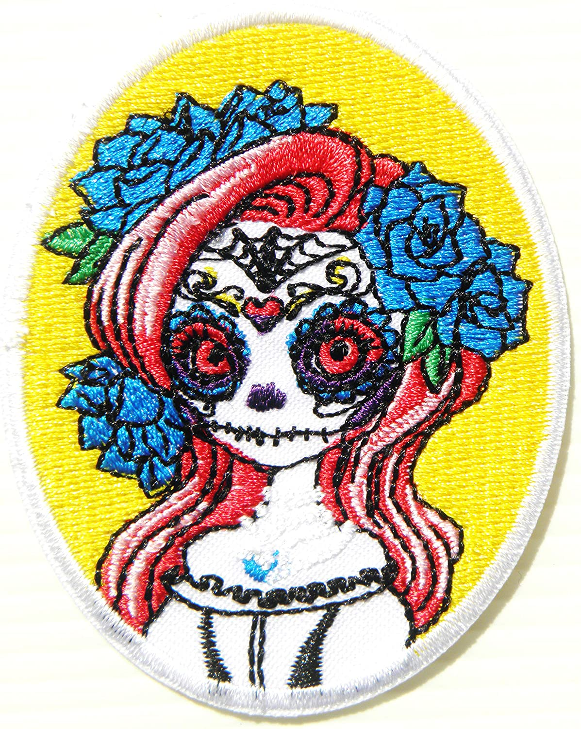 Lady Vintage Sugar Skull Rockabilly Old School Patch Iron on Transfer Sew Embroidery Applique for Clothes Leather Jean T Shirt Jacket Craft Costume Badge Sign Emblem Gift Costume