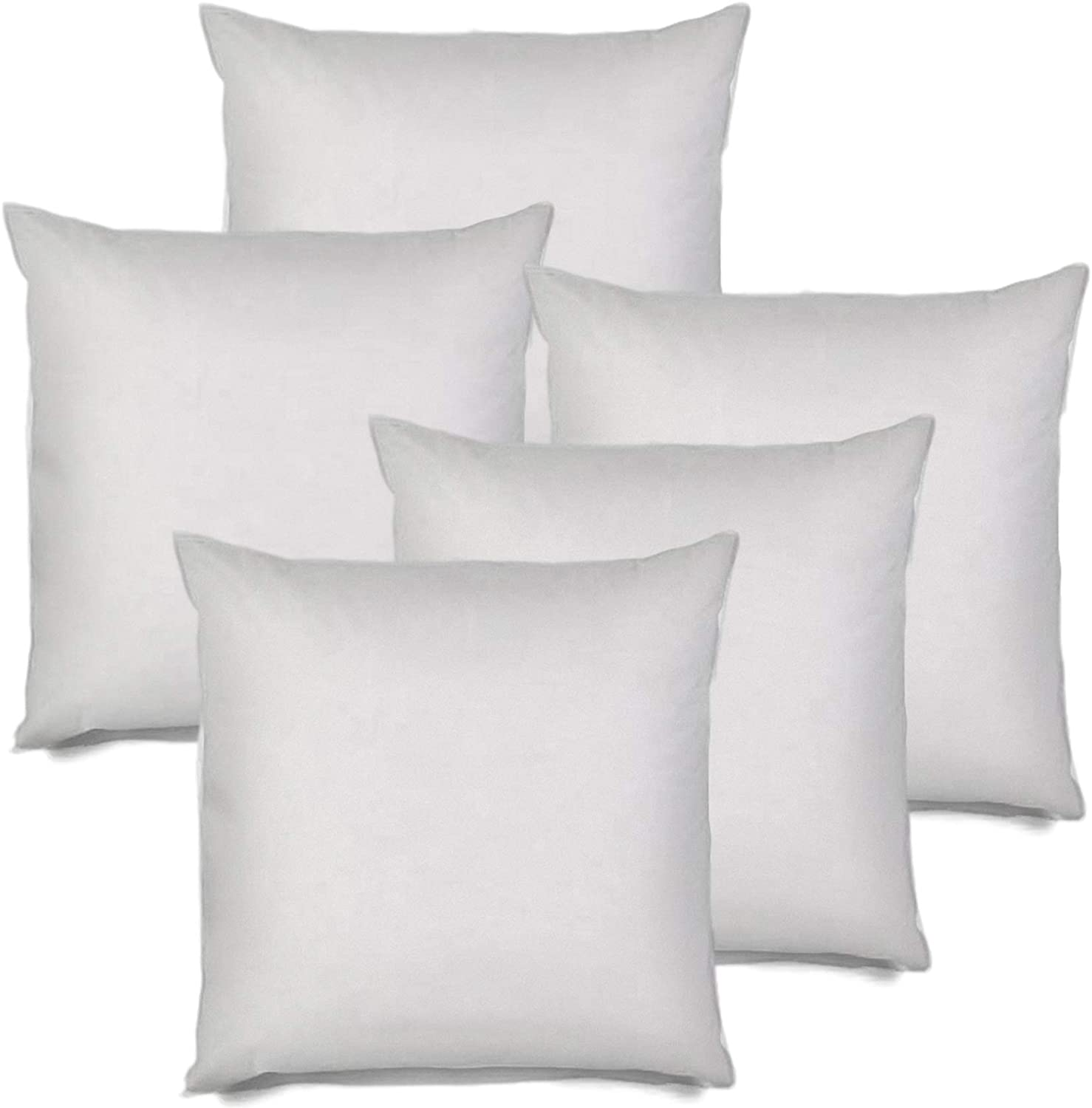 MSD 5 Pack Pillow Insert 34x34 Hypoallergenic Square Form Sham Stuffer Standard White Polyester Decorative Euro Throw Pillow Inserts for Sofa Bed - Made in USA (Set of 5) - Machine Washable and Dry