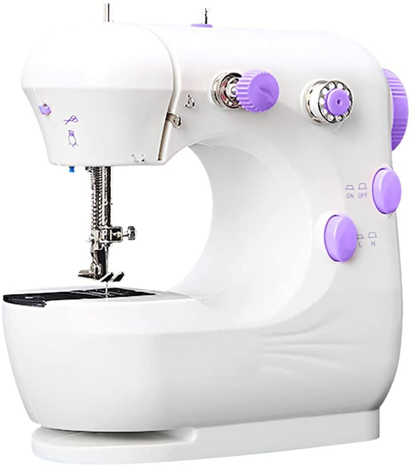 Nepdome Sewing Machine Mini Machine for Beginner Kids Portable Multi-Function Electric Small Household Sewing Machines Compact Handcraft Handheld 2-Speed Sewing Embroidery Machine for Home