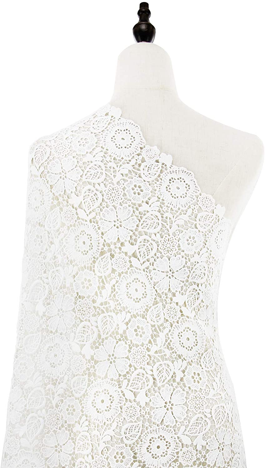 NJHG Lace Fabric 2 Yards Cotton Embroidered Flower Lace Fabric for Dressmaking Sewing Bridal Lace Applique Material