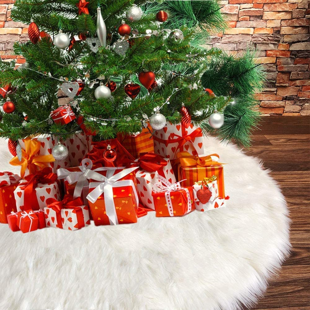 NTMY Christmas Tree Skirts, 48 Inch Faux Fur White Tree Skirts for Xmas Year Party Holiday Home Decorations