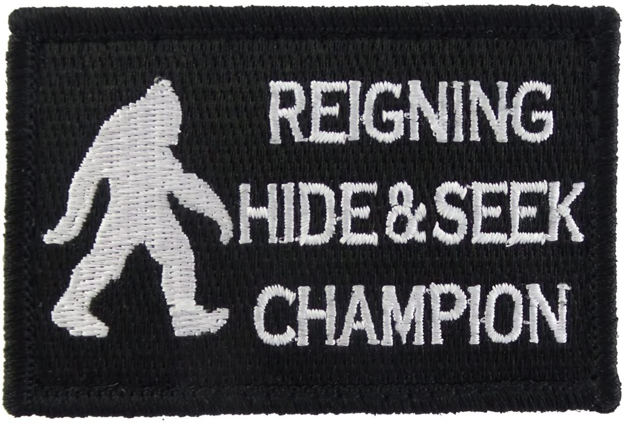 Reigning Hide and Seek Champion Bigfoot Funny Hook and Loop Fully Embroidered Morale Tags Patch (Black and White)