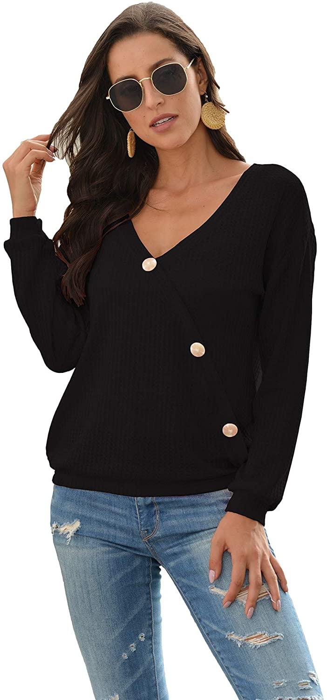 Fashring Womens Long Sleeve V Neck Button Loose Fashion Blouses Sweatshirt Pullovers