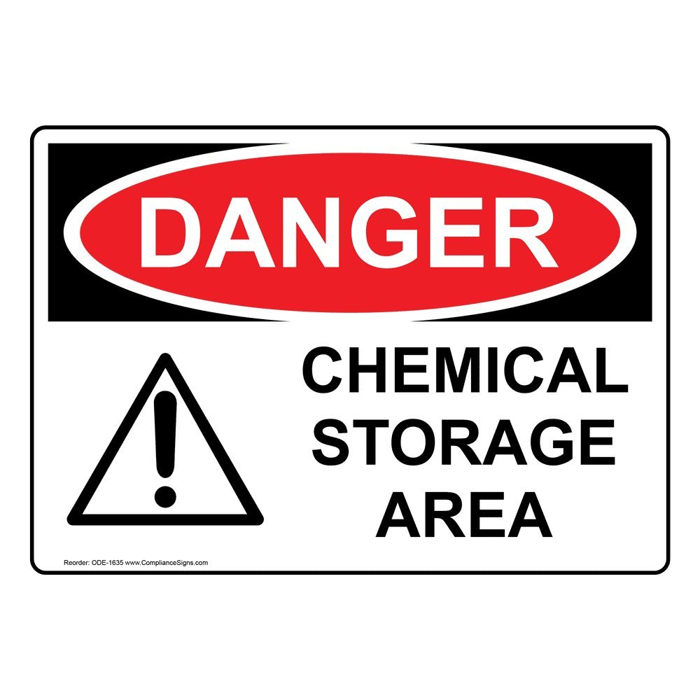 Danger Chemical Storage Area OSHA Safety Label Sticker Decal, 10x7 in. Vinyl for Hazmat by ComplianceSigns