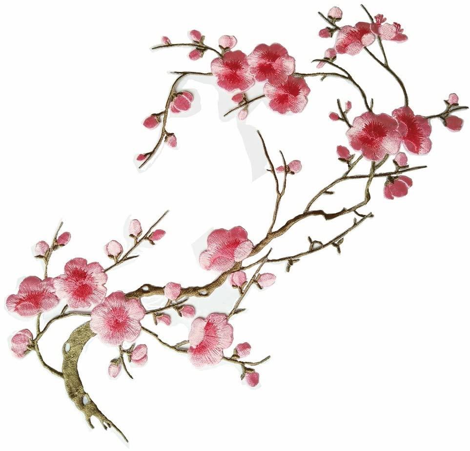 1pcs Big Plum Blossom Iron On Patches Embroidery Flower Appliques 14.1x7.5 (36x19cm) (Pink/Khaki)