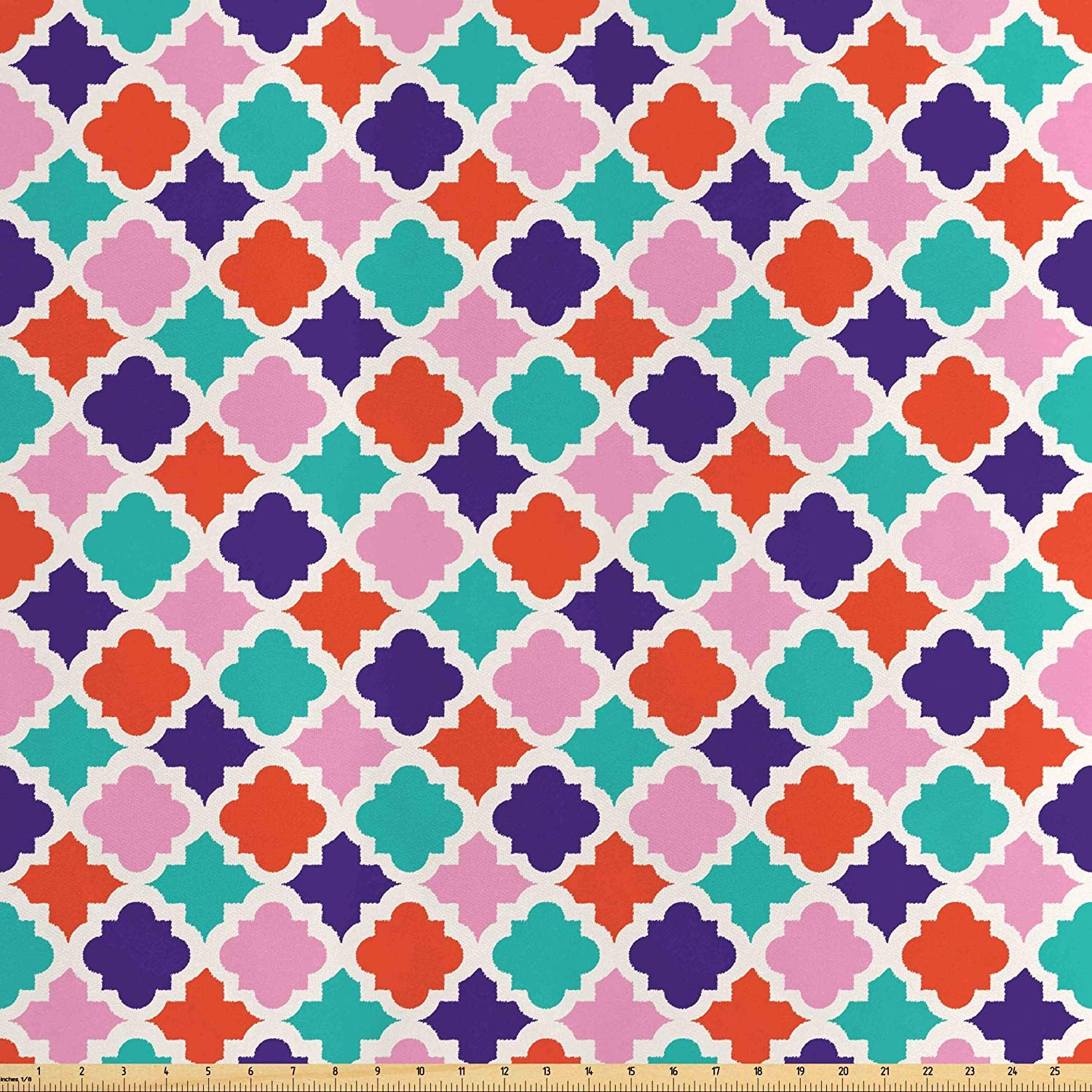 Lunarable Ikat Fabric by The Yard, Colorful Mosaic Tiles Style Ikat Indonesian Esatern Patterns and Motifs, Decorative Satin Fabric for Home Textiles and Crafts, 1 Yard, Multicolor