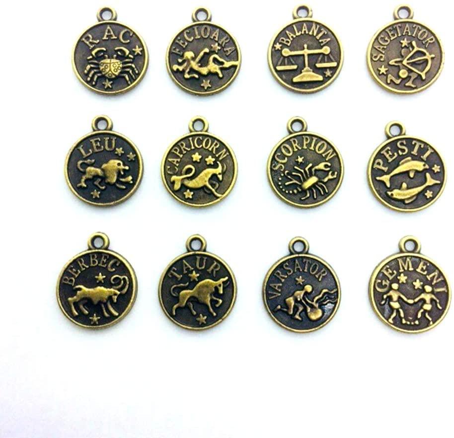 Kingmarc Zodiac Pendant Charm fit Charms Womens Beads DIY Bracelet for Jewelry Making Zodiac Necklace (Antique Bronze Circular)