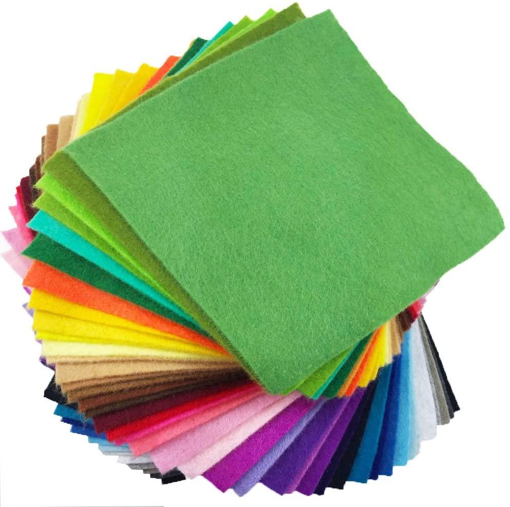 flic-flac 42pcs1.4mm Thick Soft Felt Fabric Sheet Assorted Color Felt Pack DIY Craft Sewing Squares Nonwoven Patchwork (10cm 10cm)
