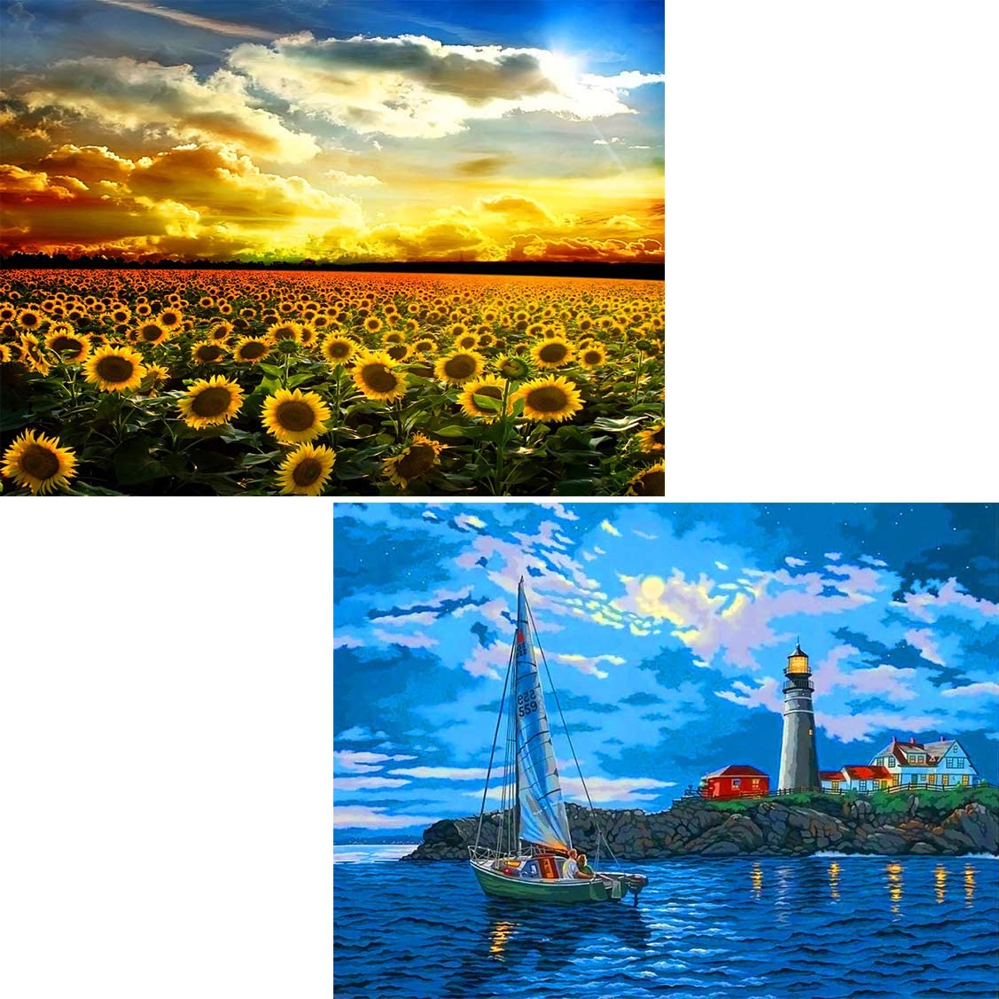 GIEAAO 2 Pack 5D Diamond Painting Kit DIY Sunflower Sailboat Lighthouse Sunset Full Drill Round Rhinestone Craft Canvas for Home Gift Wall Decor 12x16 inch