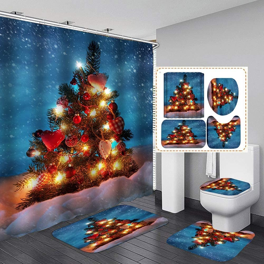 Pretty Comy Christmas Shower Curtain, Christmas Decorations Toilet Cover Bath Mat Non-Slip Rugs Waterproof Polyester Bathroom Shower Curtain Set Toilet Rugs for Christmas 71x71 Inches