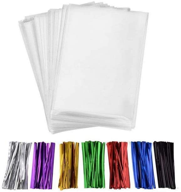 Fully 100 Pcs Self Adhesive Transparent Cellophane Treat Cello Candy Bags + 100 pcs Colorful Twist Ties (20X30CM/8X12)