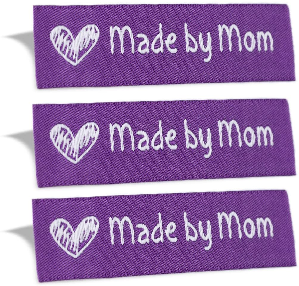Wunderlabel Made by Mom Mother Crafting Craft Art Fashion Woven Ribbon Ribbons Tag for Clothing Sewing Sew on Clothes Garment Fabric Material Embroidered Label Labels Tags, White on Purple, 100 Labels