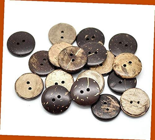 Lot Of20 Small Brown 2-Hole Coconut Shell Buttons for Sewing Scrapbooking and DIY Craft 1/2