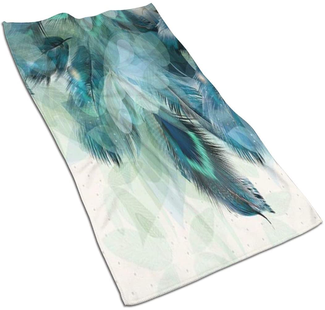 antcreptson Peacock Feather 15.727.5 Inch Microfiber Towel for Instant Cooling Relief, Cool Cold Towel for Yoga Golf Travel Gym Sports Camping Football & Outdoor Sports