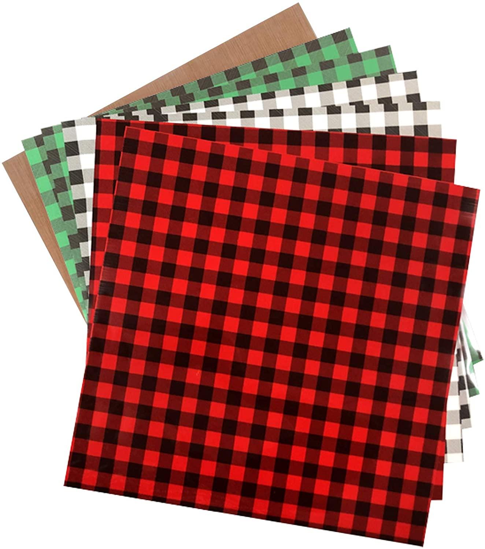 Myhozee 7pcs 12 x 12 Christmas Buffalo Plaid Heat Transfer Vinyl & Teflon, HTV Iron on Vinyl for T-Shirt Decoration & DIY Craft Materia (Christmas Buffalo Plaid)