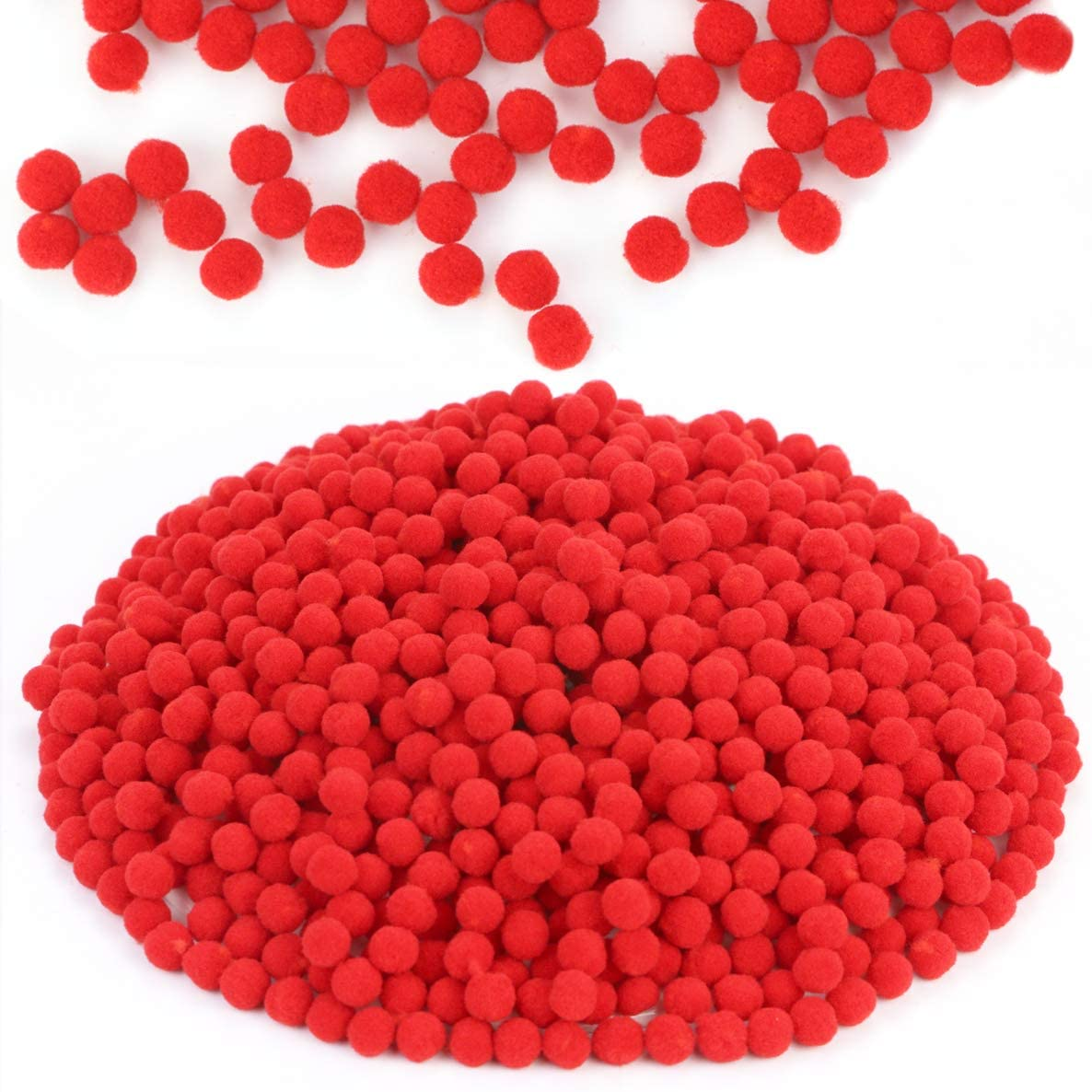 Acmer 1000 Pieces 1.2 cm/ 0.5 Inch Pompoms for Craft Making and Hobby Supplies (red)