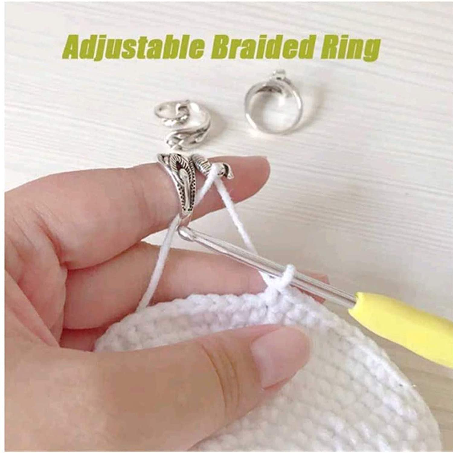 Adjustable Knitting Loop Crochet Hook Ring,Advanced Peacock Ring, Knitting Accessories,Yarn Guide Finger Holder Knitting Thimble Knitting Loop Ring Crochet Ring (White, Silver Plated copper-6PCS)