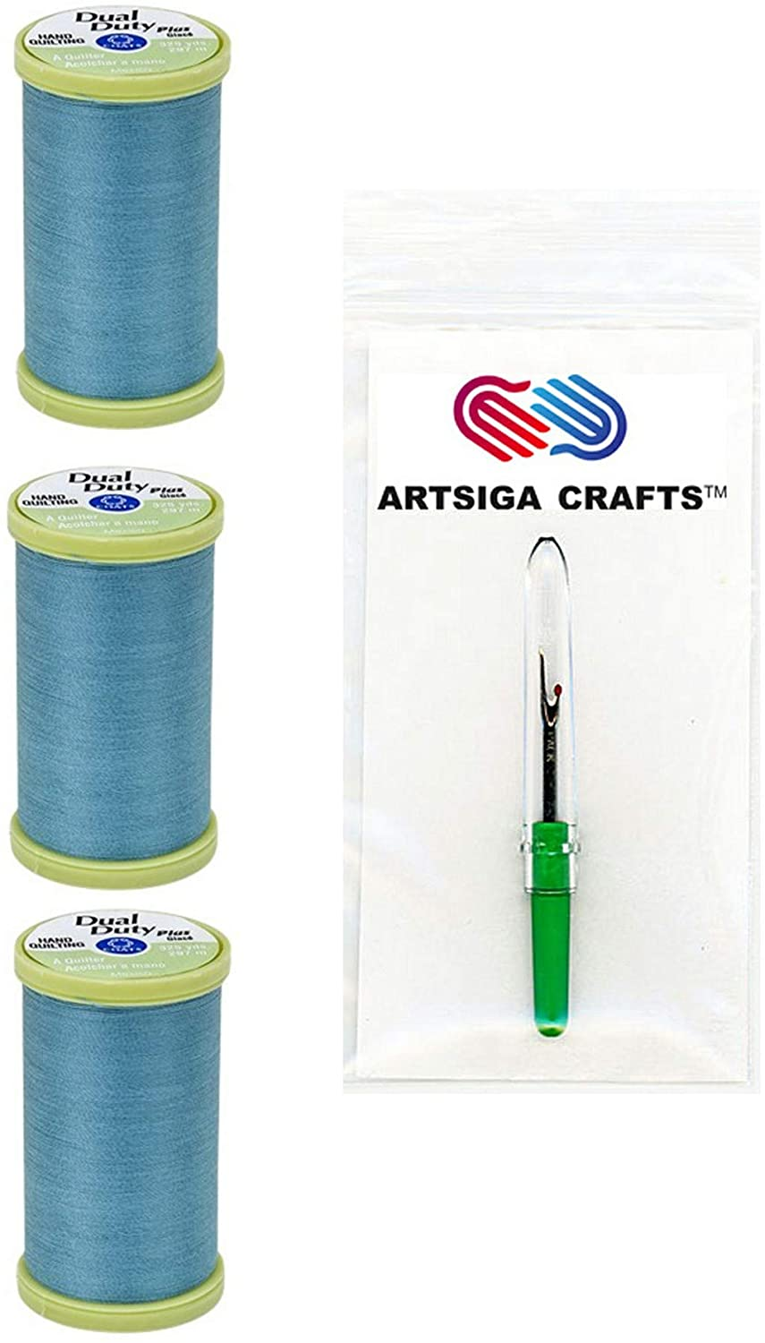 Coats & Clark Sewing Thread Dual Duty Plus Hand Quilting Cotton Thread 325 Yards (3-Pack) River Blue Bundle with 1 Artsiga Crafts Seam Ripper S960-5450-3P