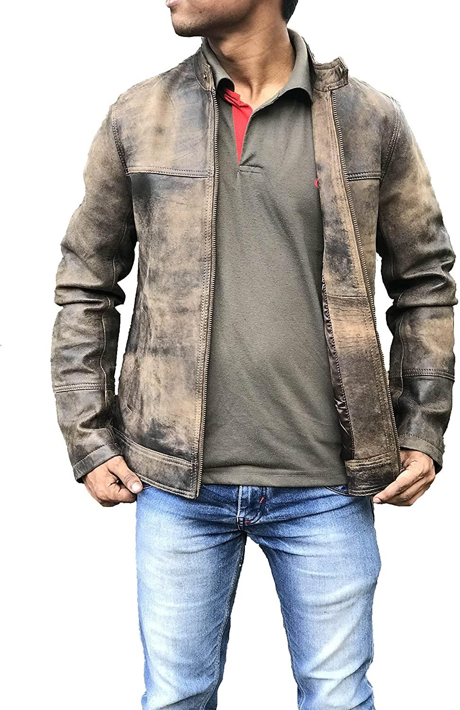 Legends Men's Cafe Racer Triple Stitch Distressed Brown Wax Vintage Leather Jacket