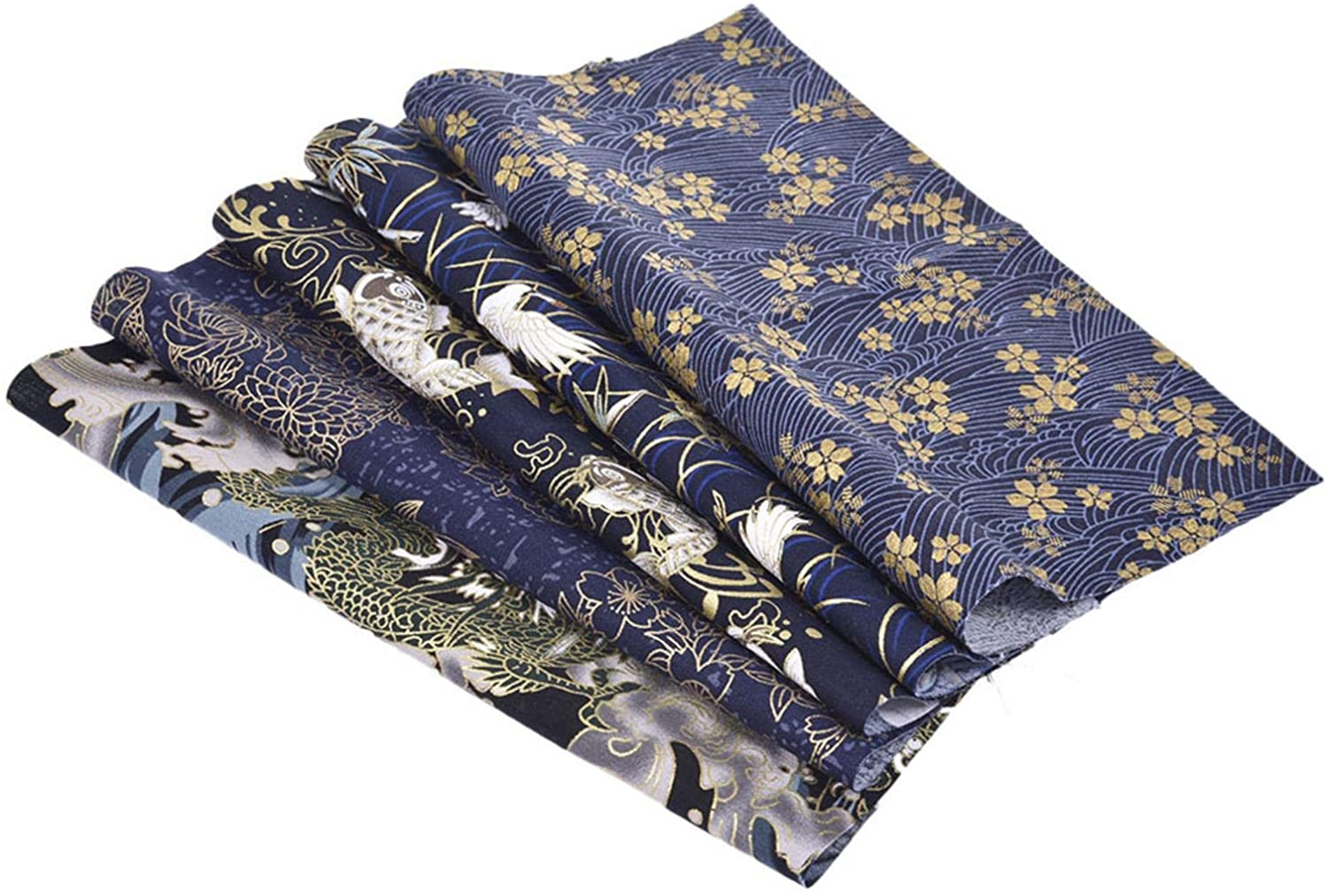 5pcs 50x50cm Japanese Fabric Fat Quarters Bundles, Japanese Cherry Blossom Bronzing Floral Fabric, 100 Cotton Material for Sewing, Quilting, Patchwork, Craft