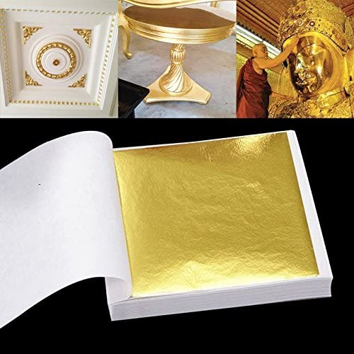 SHUNYUS Imitation Gold Leaf, 100 Sheets, for Home Decoration, Arts, Gilding Crafting, 3.74 by 3.15 Inches