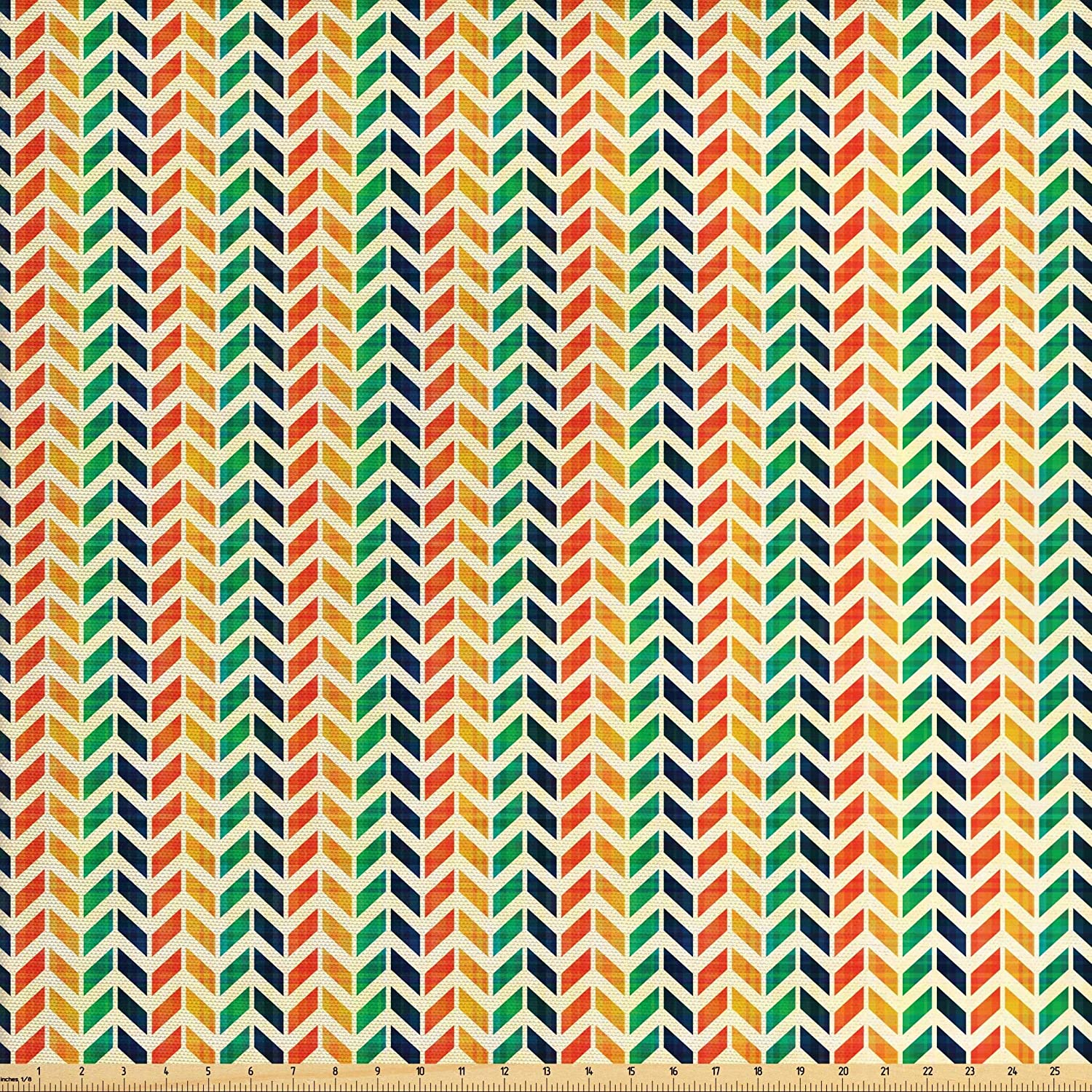 Lunarable Geometric Fabric by The Yard, Modern Chevron Style Rainbow Mixed Colored Image with Bows Abstract Art Print, Decorative Fabric for Upholstery and Home Accents, 2 Yards, Red Green