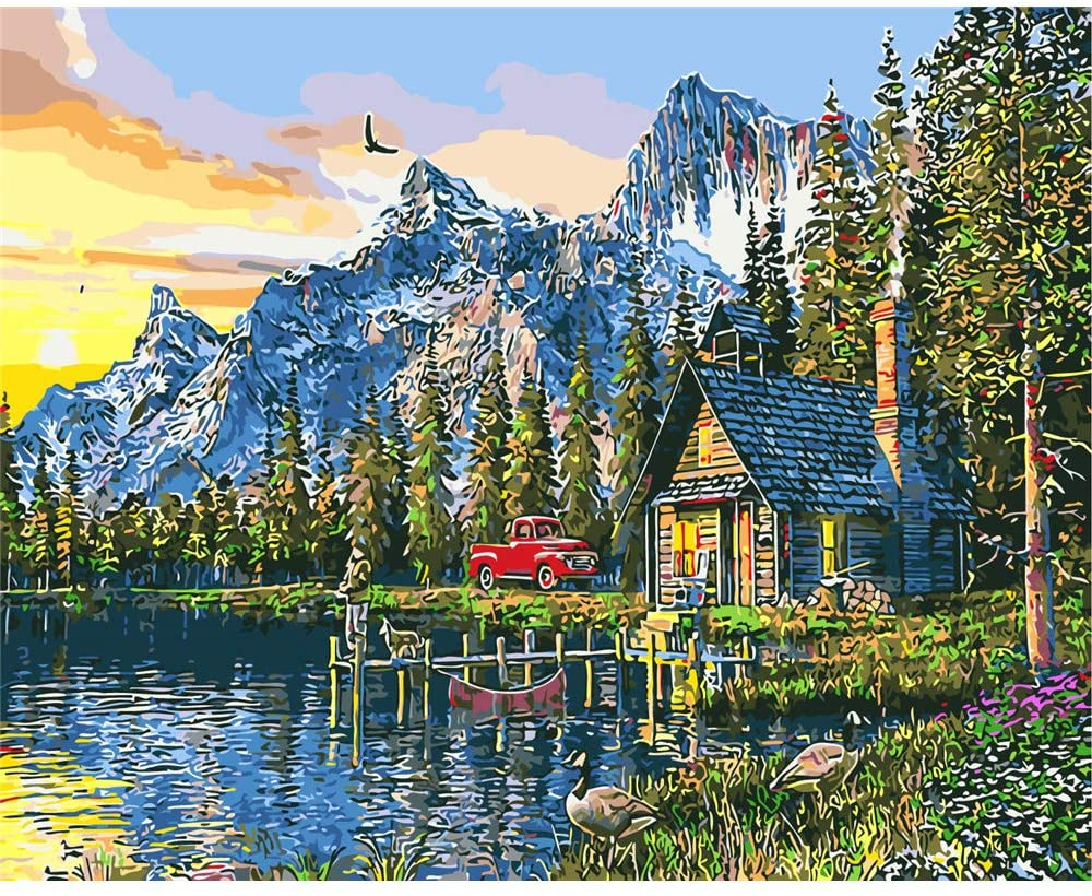 CHUNXIA DIY Oil Paint by Numbers for Kids and Adults Kits,16x20 Inch Canvas with Paintbrushes,Painting Gift Mountains and Small House ZTY012-RA3347