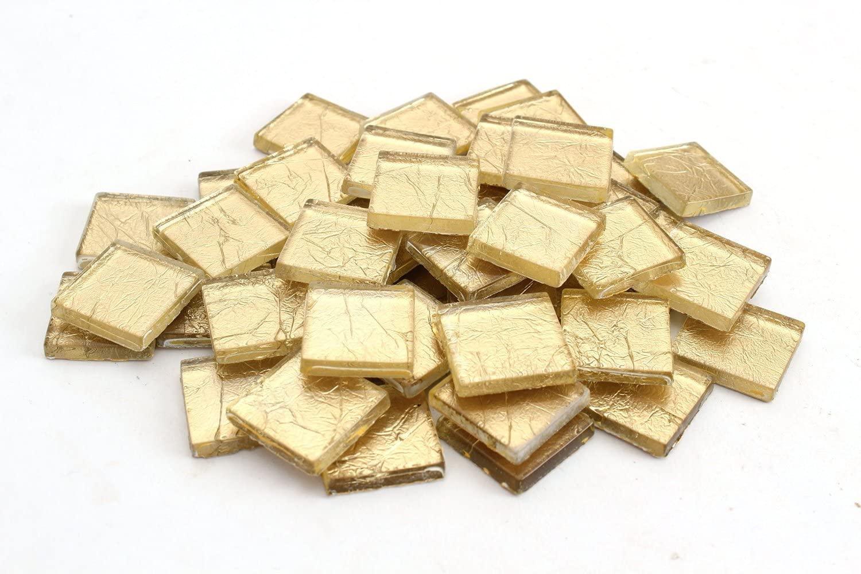 Milltown Merchants 3/4 Inch (20mm) Gold Foil Mosaic Tile, 3 Pound (48 oz) Bulk Assortment of Mosaic Tiles